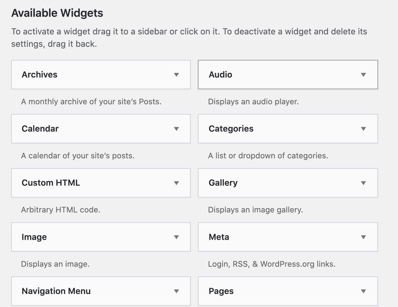 Pre installed WordPress widgets