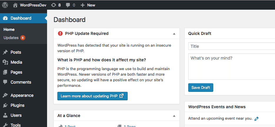 wordpres 5.1 updated version of PHP