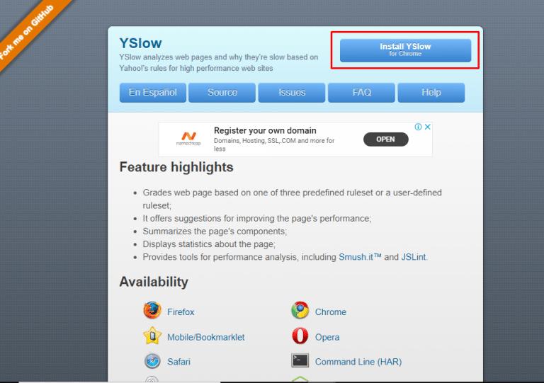 YSlow speed test tool