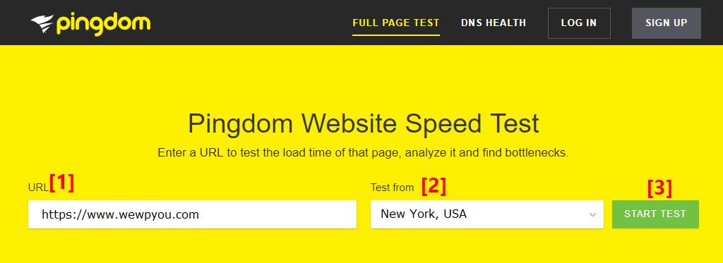 Pingdom speed test tool
