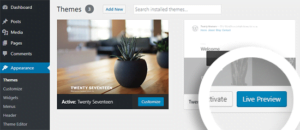 Preview new theme with WordPress Customizer