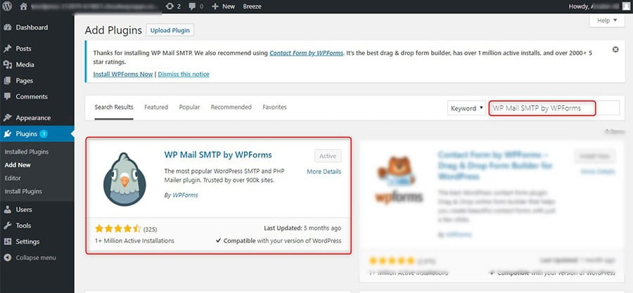 install WP Mail SMTP plugin