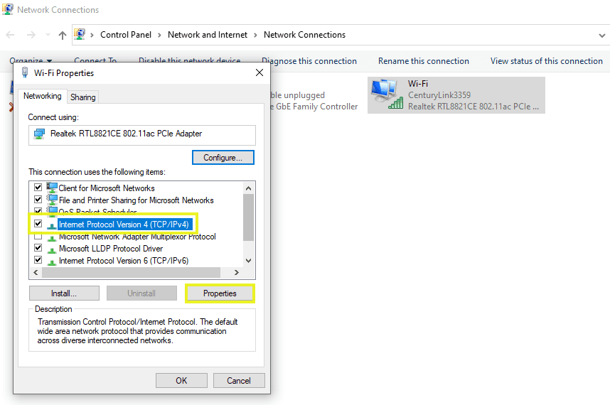 .ipv4 properties windows