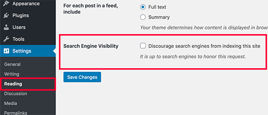 Website's Visibility Settings